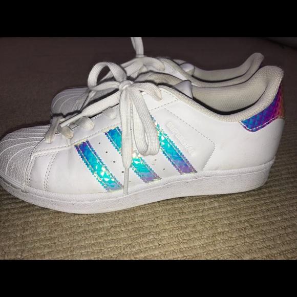 2a2d35f1191f3 adidas Shoes | Iridescent Size 7 Superstars | Poshmark